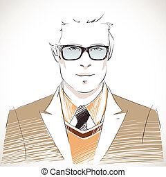 Handsome young businessman portrait wearing glasses, vest,...