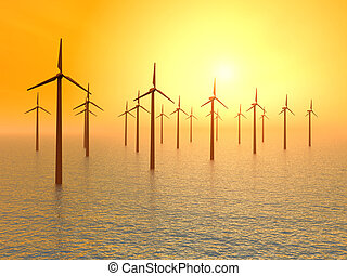Offshore Wind Farm - Computer generated 3D illustration with...