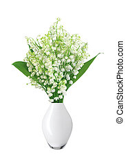Lily of the valley in vase isolated on white background