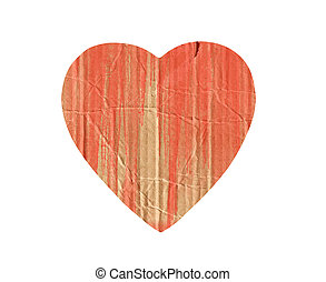 cardboard heart with red paint splash isolated on white