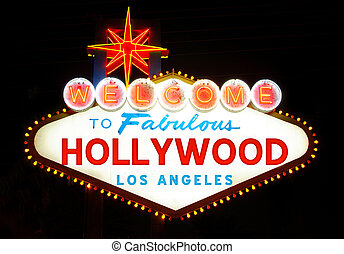 Welcome to Hollywood sign - Hollywood poster imitating the...