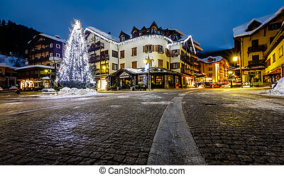 Illuminated Central Square of Madonna di Campiglio in the...