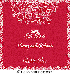 Wedding invitation card with doodleornament on geometric red...