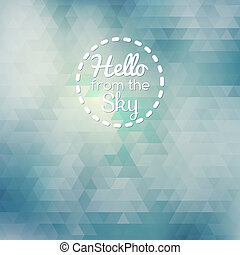 Blue abstract card geometric background with clouds and sky....