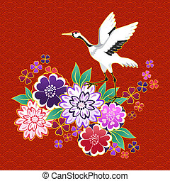 Kimono decorative motif with flowers and crane vector...