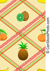Seamless pattern with ripe tropical fruits.