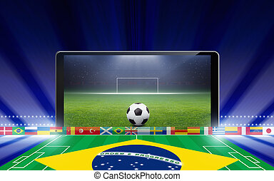 Brazil soccer online - Technology, sports background -...