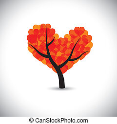 tree with love shaped leaves forming a heart symbol - vector...