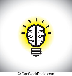 vector icon of creative, inventive brain as idea light bulb...