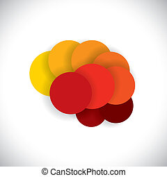 concept vector icon of abstract brain or mind as circles -...