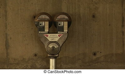 Coin Operated Parking Meter - Double Parking meter in a...