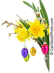 daffodil flowers with catkins and easter eggs - bouquet of...