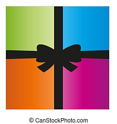 wrapped gift or gift card with four color parts and black...