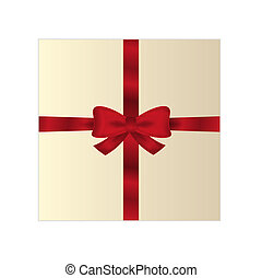 wrapped gift or gift card with red ribbon on white...