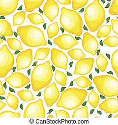Seamless pattern of lemons, vector illustration - Seamless...