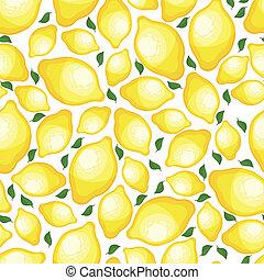 Seamless pattern of lemons, vector illustration. - Seamless...