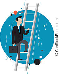 Business leader concept illustration - Flat design style...