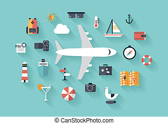 Air trip flat illustration concept - Flat design style...