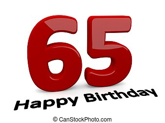big red number for the birthday - black lettering Happy...