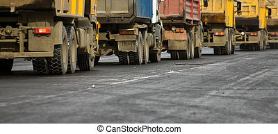 Trucks at the road