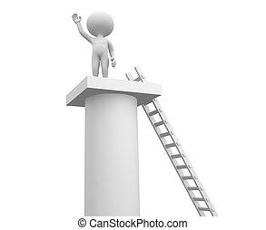 Ladder and a column.