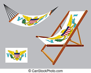 virgin islands hammock and deck chair set against gray...