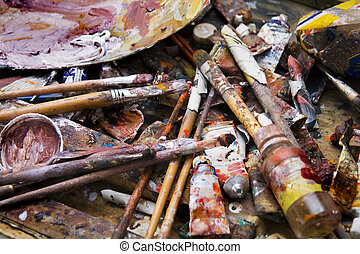 Palette - old palette with brushes and paint tubes