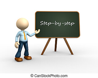 Step by step - 3d people - men, person with blackboard and...