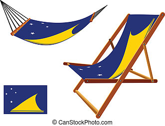 tokelau hammock and deck chair set against white background,...