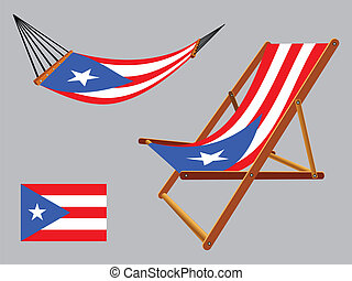 puerto rico hammock and deck chair set against gray...