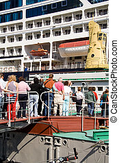 Passengers boarding on sea liner