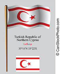 turkish republic of northern cyprus wavy flag and...