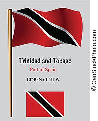 trinidad and tobago wavy flag and coordinates