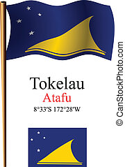 tokelau wavy flag and coordinates against white background,...