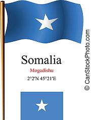 somalia wavy flag and coordinates against white background,...