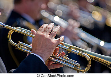 Trumpeters - Musicians at the Festival of Military Bands,...
