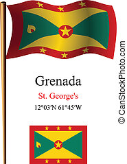 grenada wavy flag and coordinates against white background,...