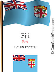 fiji wavy flag and coordinates against white background,...