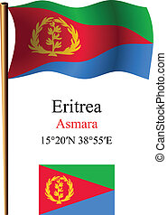 eritrea wavy flag and coordinates against white background,...