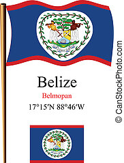 belize wavy flag and coordinates