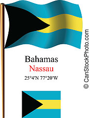 bahamas wavy flag and coordinates