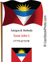 antigua and barbuda wavy flag and coordinates