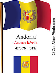 andorra wavy flag and coordinates