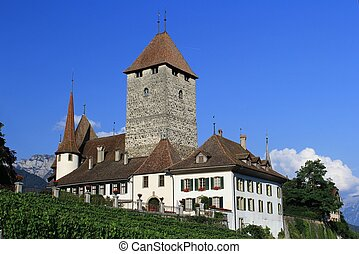 Switzerland - The castle of Spiez a medieval village in...