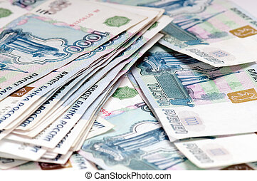 Russian money - pile of 1000 ruble banknotes