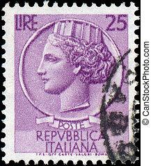 Italia, -, hacia, 1953:, Un, estampilla, impreso, Italia,...