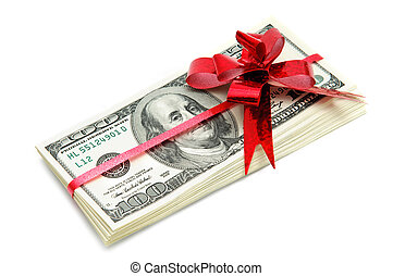 Money for gift - Money and red ribbon for gift