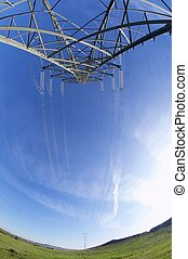 energy - High tension electrical tower and blue sky, Rueda...