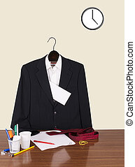 Employee gone home leaving note - suit, letter and clock -...