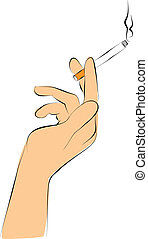 smoking - Hand hold cigarette